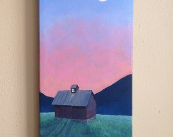 Red Barn and a Painter's Sky, Daily Painting, Original Oil Painting