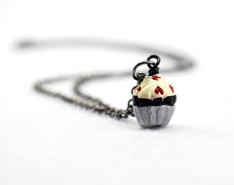 Cupcake Necklace with Red Heart Sprinkles in Gunmetal - Food Necklace, Dessert Necklace, Birthday Gift, Valentine's Day, Girlfriend Gift