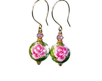 Handmade Hot Pink Rose Earrings, Pink Flower, Flower Earrings, Floral Bead Dangle