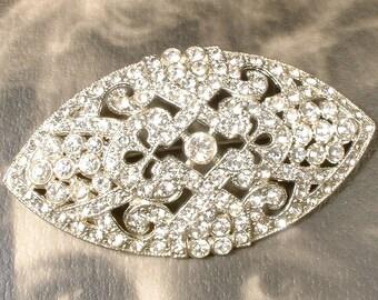 1930s Hair Comb OR Sash Brooch Edwardian/Art Deco Vintage Clear Pave Rhinestone Wedding Pin or Bridal HeadPiece Antique Gatsby Downton Abbey
