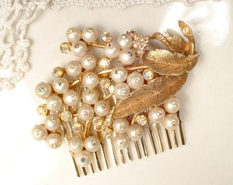 OOAK Gold Leaf Pearl Bridal Hair Comb, True Vintage Brushed Gold Rhinestone Brooch Wedding Headpiece, Flower Hair piece, Rustic Chic Country