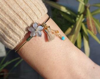 Mother of Pearl Flower Bangle Bracelet - Turquoise Bracelet - Tassel Charm Bracelet