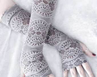 Nuala Arm Warmers   Light Dove Grey & White Floral Mehndi Paisley Burnout   Yoga Gloves Bohemian Woodland Belly Dance Tribal Cycling Goth