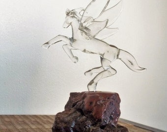 Vintage Glass and Burl Wood Winged Horse Pegasus
