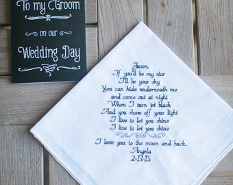 Wedding Gift Fiance Husband to Be Wedding gift Personalized for Fiance Personal Saying YOUR OWN WORDS Wedding Wedding Gift Canyon Embroidery
