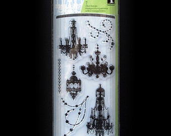 Halloween Stamps, Gothic Stamps, Cling Stamps, Rubber Stamps, Clear Stamps, 7 Cling Stamps, Inkadinkado Stamps, Chandelier Stamps, Scrapbook
