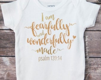 Baby Girl Outfit; I am Fearfully and Wonderfully made; Babygirl Outfit; Baby girl Bodysuit with Skirt; Psalm 139:14