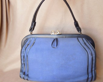 Vintage 60's Blue Handbag, Canvas Fabric with Black Trim, Structured, Top Handle, 50's, Rockabilly Style