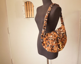 Vintage 70's Velvet Hobo Bag, AMAZING Boho Treasure with Gold ANCHOR Accent, Brown Black and Beige