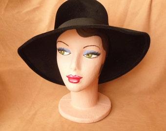 Vintage 60's BLACK Hat, Large Asymmetrical Felt Fedora, Women's Size Medium to Large