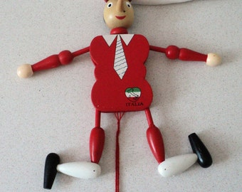 Pinocchio Wood Figure Jointed Pull Toy Italy