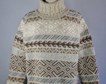 Vintage 90s Women's Wool Turtleneck Snowflake Nordic Norwegian Style Ski Lodge Fall Winter Warm Pullover Sweater