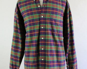 Vintage Green Navy Plaid  Woodland Cabin Fall Winter Shirt - Mens Size XL