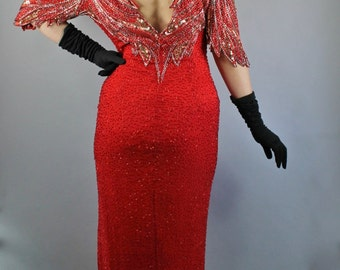 Vintage 80s does 40s Women's Screen Siren Lipstick Red Lillie Rubin Designer Sequined Beaded Long Formal Gown Party Dress