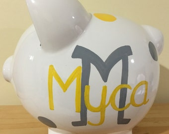 Personalized Large Monogram Grey Yellow Polka Dots Large Piggy  Bank Newborns , Birthday,Girls,Flower Girl,Baby Shower Gift