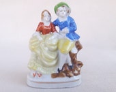 Vintage 1940s Victorian Style Couple Figurine, Made in Occupied Japan, Romantic Man and Woman Couple Figurine