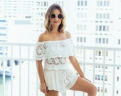Shoulderless Lace White Top
