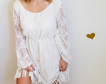Bell Sleeve Lace Fringed Dress With Scoop Back