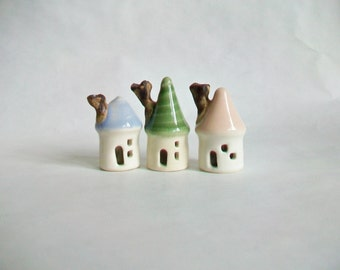 Mini Houses - Pastels - Set of 3 - Pink - Green and Blue - on the right - Handmade, Wheel Thrown --Ready to Ship