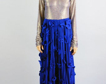 Women's Clare Royal Blue and Gold Maxi Dress-Size Medium