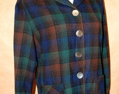 1950s PENDLETON 49er Rockabilly Navy and Green Plaid Wool Jacket