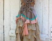 Reserved for chelita1973 Dress, woodland faery, faery, eco chic, brown , green, mud, raw fashion
