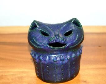 Purple Mod Cat by Pauline Toynbee ~ Studio Pottery ~ UK ~ Landscape Pottery