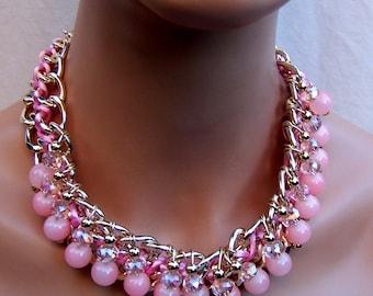 Vintage bib necklace 1980s pink beaded necklace silk cord fabric necklace ethnic style (AJA)