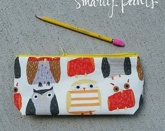 The Pencil Pouch -- Handmade -- Wise Owls --- Back to School.