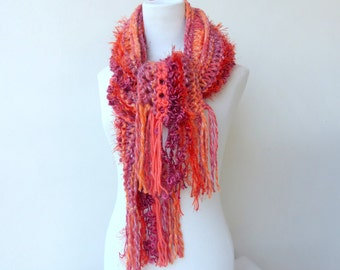 Coral knit scarf Chunky orange scarf Unique hand knitted scarves