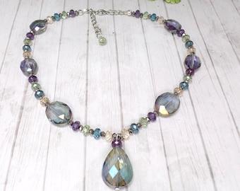 Colorful Tear Drop Necklace - Statement Necklace - Romantic Bohemian Necklace