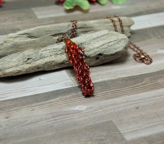 Copper Electroplated Real Pine Tip Necklace - Pine Necklace - Bright Copper - Nature Necklace - Free US Shipping