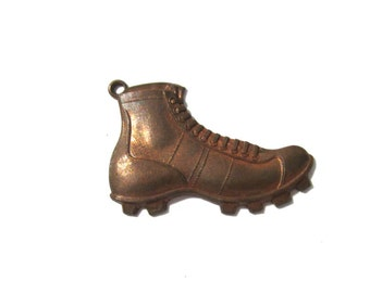 Vintage Brass Charm Athletic Award Medal School Old Fashioned Cleats Football Soccer Rugby One (1) with Hole Brass Jewelry Supplies (G167)
