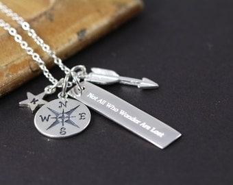 Not All Who Wander are Lost Necklace, 925 Sterling Silver Engraved Jewelry