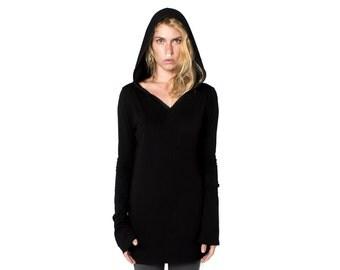 Black Long Sleeve Hoodie - Hooded Top - Hooded Tee - Black Tee - Black Hooded Top - Long Sleeve Top