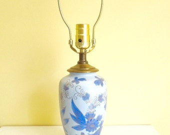 Vintage Table Lamp, Blue & White Porcelain, Small Lamp, Oriental Decor, Hollywood Regency