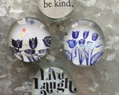 Live, Laugh, Love set of four Glass Magnets
