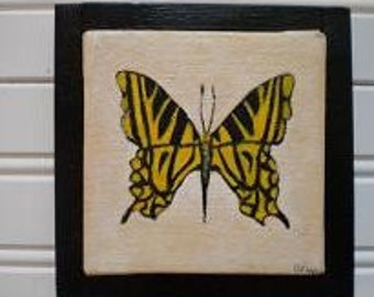 Yellow Butterfly Orginal Oil Painting - Framed