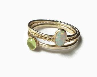 Gold peridot ring gold gemstone rings, 14k gold filled stacking rings set, gold stacking rings, stackable gold ring, gold opal ring