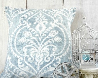 Soft Blue Damask Throw Pillow Cover Cottage Chic 18x18, 20x20, 22x22, 24x24