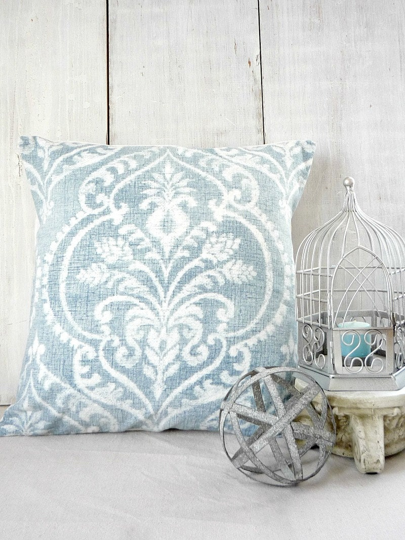 Soft Down Throw Pillows : Soft Blue Damask Throw Pillow Cover Cottage Chic 18x18 20x20
