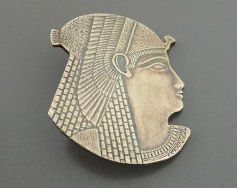 Vintage Brooch - Cleopatra Isis Jewelry - Art Deco jewelry - Egyptian Brooch - Brass jewelry - handmade jewelry