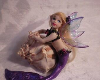 Mermaid girl Polymer Clay Custom OOAK art doll fantasy mermaid fairy polymer clay sculpture