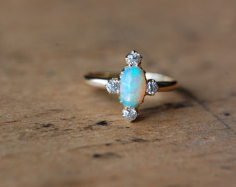 Antique 1910s opal and diamond station ring ∙ Opal diamond antique stickpin conversion ring