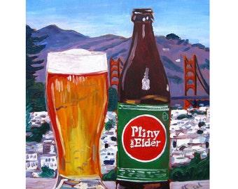 Pliny the Elder, Craft Beer Gift, California Beer Art, Golden Gate Bridge, Russian River Brewing, San Francisco Print, Gift for Boyfriend