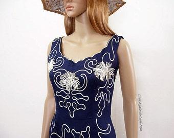 Vintage 1950s Soutache Dress Navy Blue White Sundress / Small
