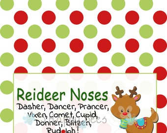 Reindeer Noses Christmas Party Bag Toppers, Christmas Treat Bag Label, Christmas Party Gift Bag Topper, Christmas Reindeer Party Printable