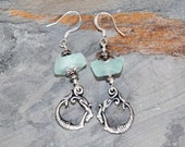 Green Mermaid Earrings, Mint Green Earrings, Sea Glass Earrings, Handmade Earrings, Mermaid Hoop Earrings, Ocean Earrings, Summer Earrings