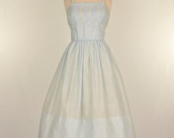 Vintage 1950s Sundress...JEANNE D ARC Palest Blue Sundress with Jacket Deadstock