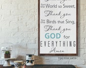 Thank You For the Food We Eat  Blessing  Framed Rustic Sign